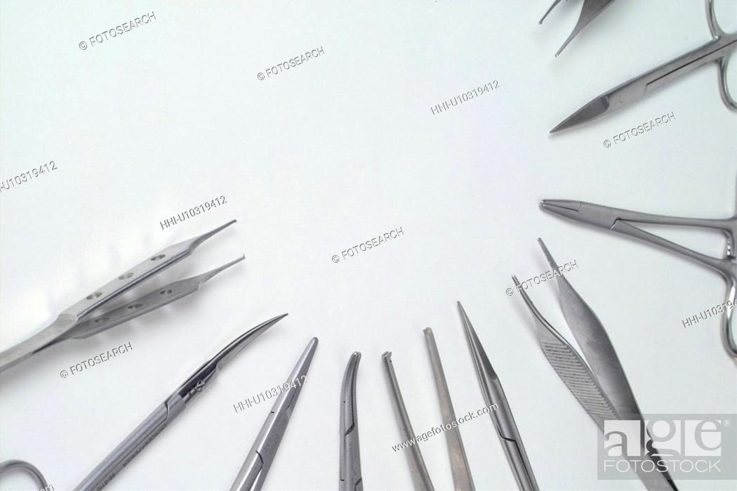 Stock Photo: medical service, pincette, medical treatment, medical appliance, medical instrument, scissors.
