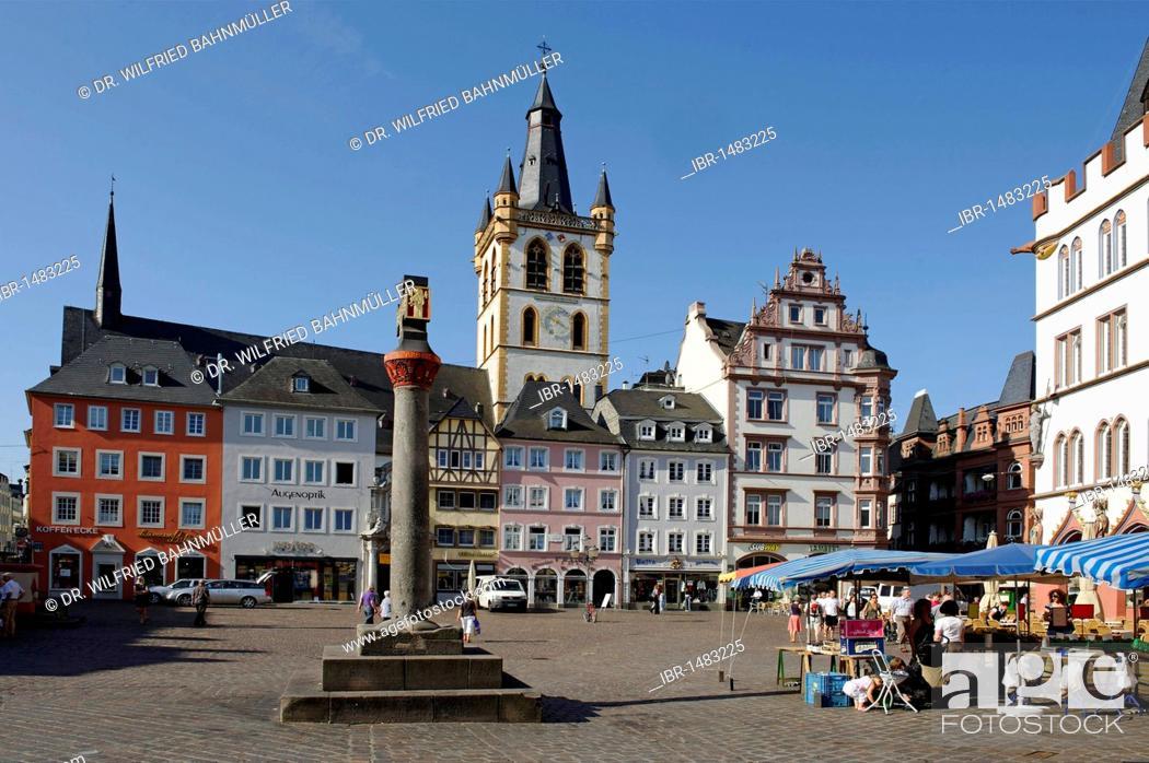 Stock Photo: Market church Saint Gangolf from Hauptmarkt, main square, Trier, Rhineland-Palatinate, Germany, Europe.