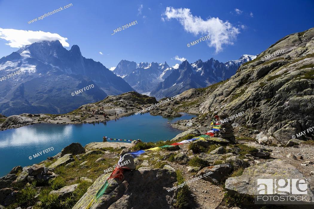 Stock Photo: Chamonix, Mont Blanc, Lac Blanc, Haute Savoie, France, Europe.