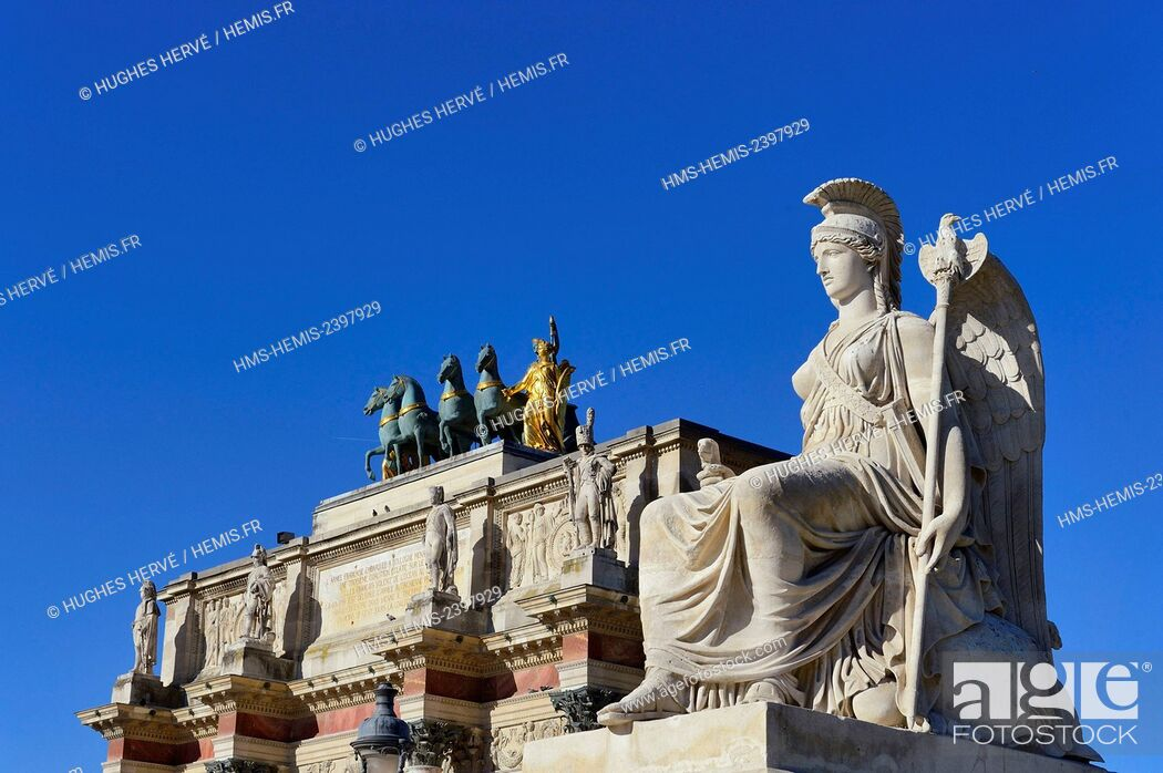 Stock Photo: France, Paris, area listed as World Heritage by UNESCO, Arc de Triomphe of the Carrousel square at the Louvre, Antoine François Gerard statue.