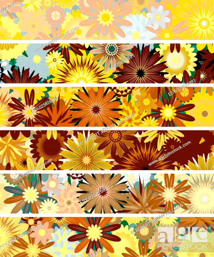 Stock Vector: Set of editable vector banners of flowers.