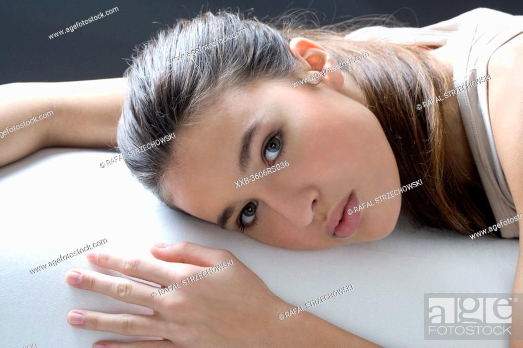 Stock Photo: young woman relaxing.