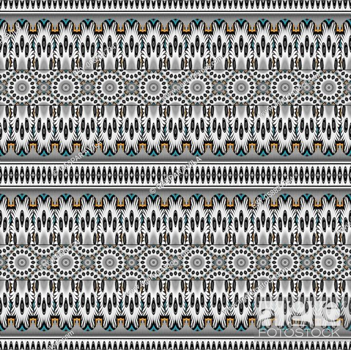 Stock Vector: Artsy and complex geometric pattern, mostly in black and white, and a few color shades.