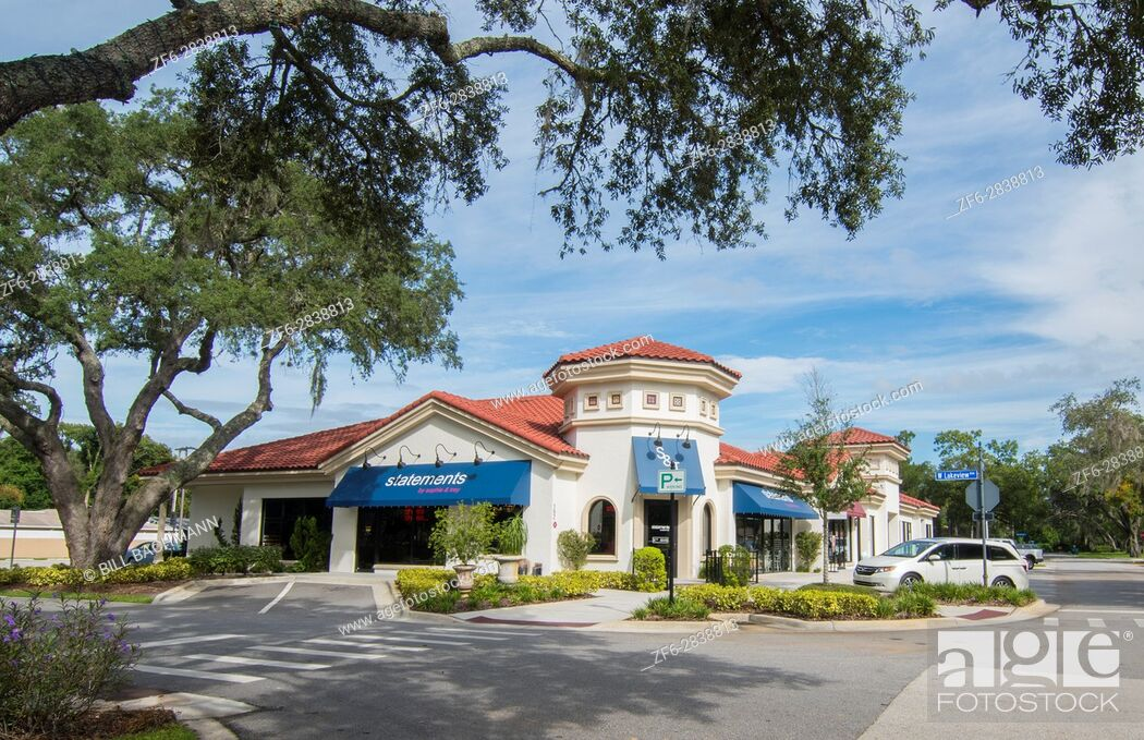 Stock Photo: Lake Mary Florida downtown shops upscale development called Central Park 5th Street in new shopping center, .