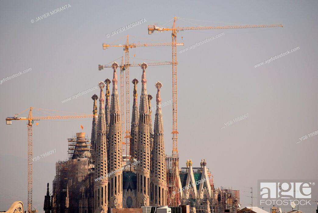 Stock Photo: Construction of the Sagrada Familia in Barcelona, Spain.