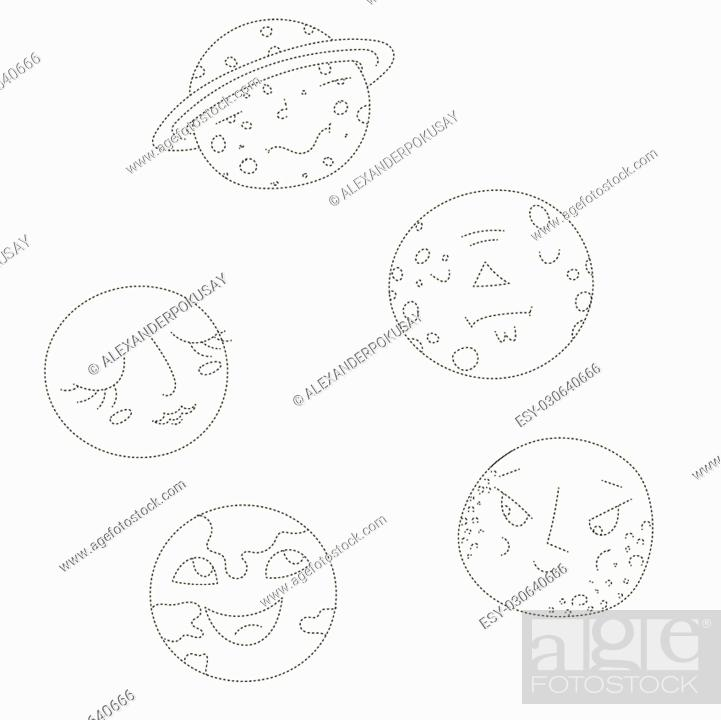 Educational Game For Children Connect The Dots To Draw Planets