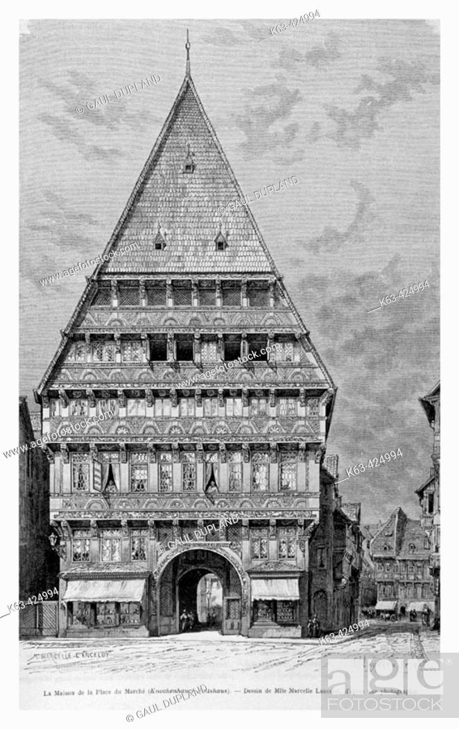 Stock Photo: Knochenhauer-Amtshaus (Butchers' Guild Hall), Hildesheim, Germany. Engraving from 'Le Tour du Monde'.