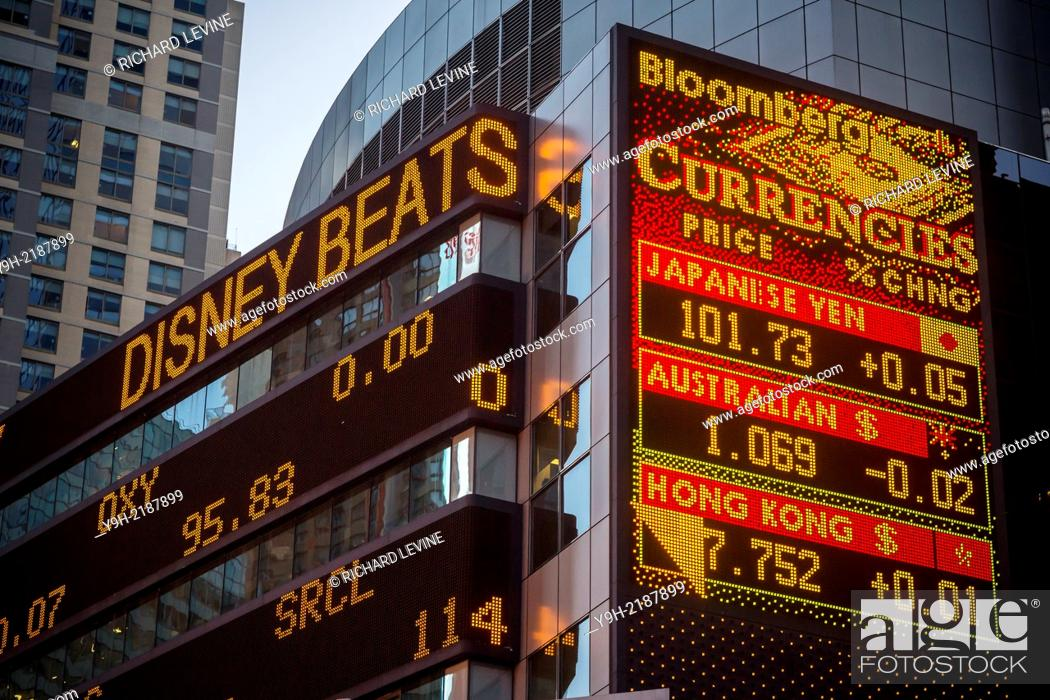 Morgan Stanley headquarters in Times Square in New York displays the