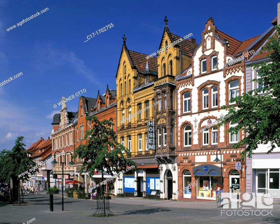 Stock Photo: Germany, Northeim, Rhume, Leine Valley, Harz, Lower Saxony, market place, residential buildings, Wilhelmine buildings, neobaroque, Gruenderzeit.