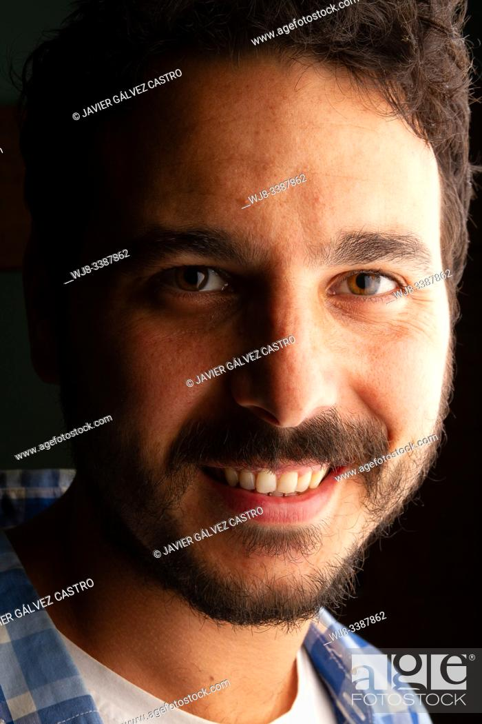 Stock Photo: portrait of actor with side studio lighting.