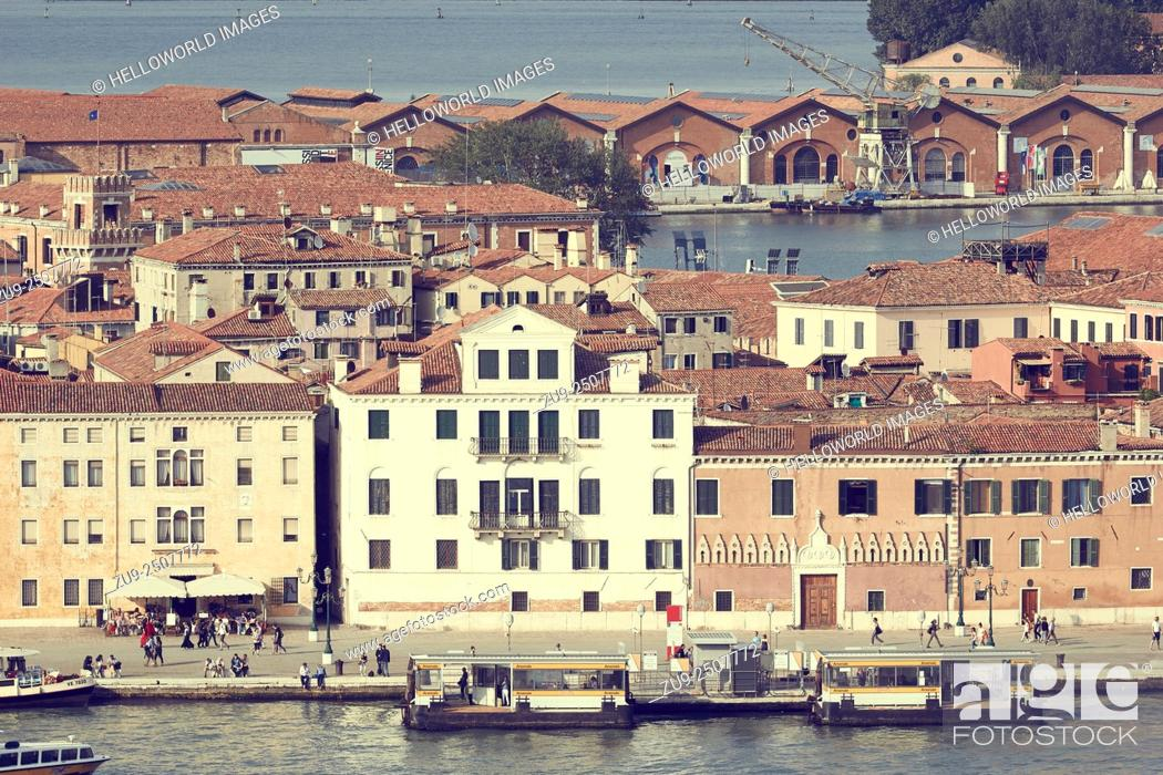 Stock Photo: Arsenale vapretto stop in the Venice district of Castello, It is a complex of former shipyards and armories where most of Venice's maritime trading vessels and.