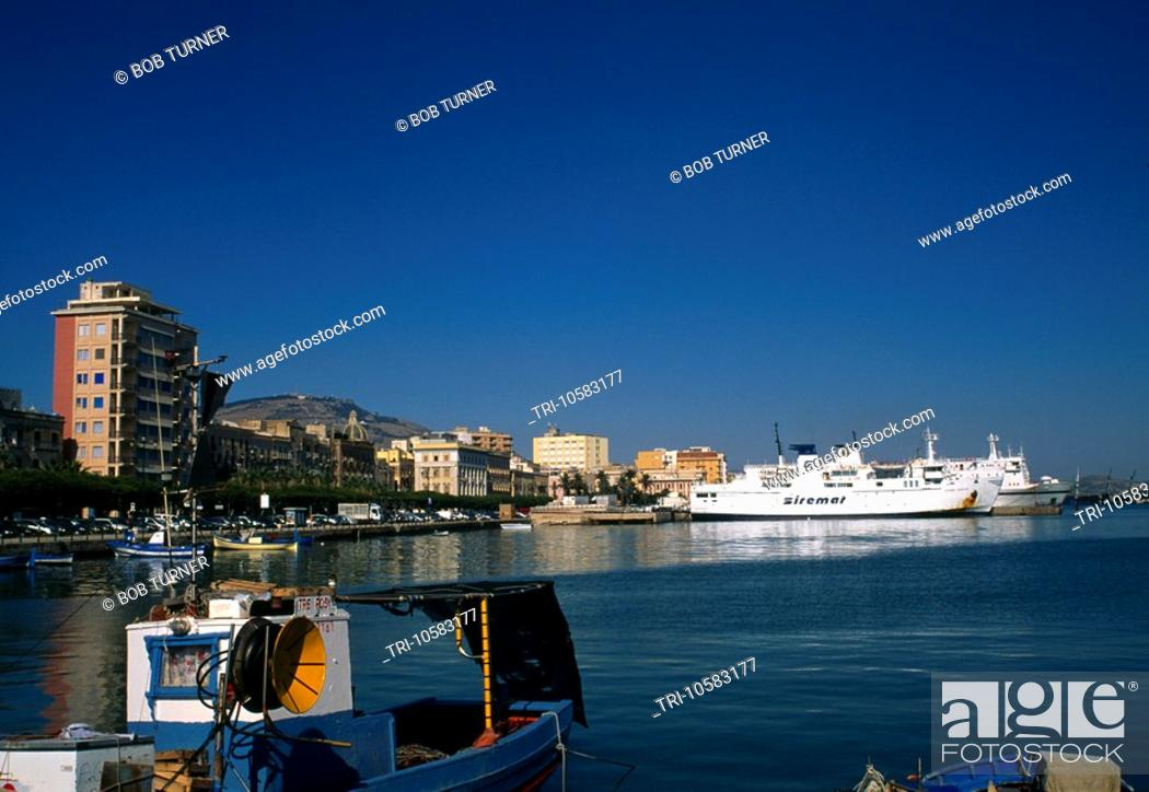 Stock Photo: Ferry Harbour Trapani Sicily Italy.
