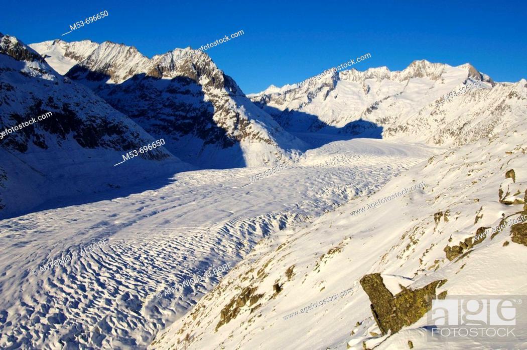 Stock Photo: Aletsch, the longest of the Alps, seen from Riederfurka. Riederalp municipality, Raron district, Valais, Switzerland.