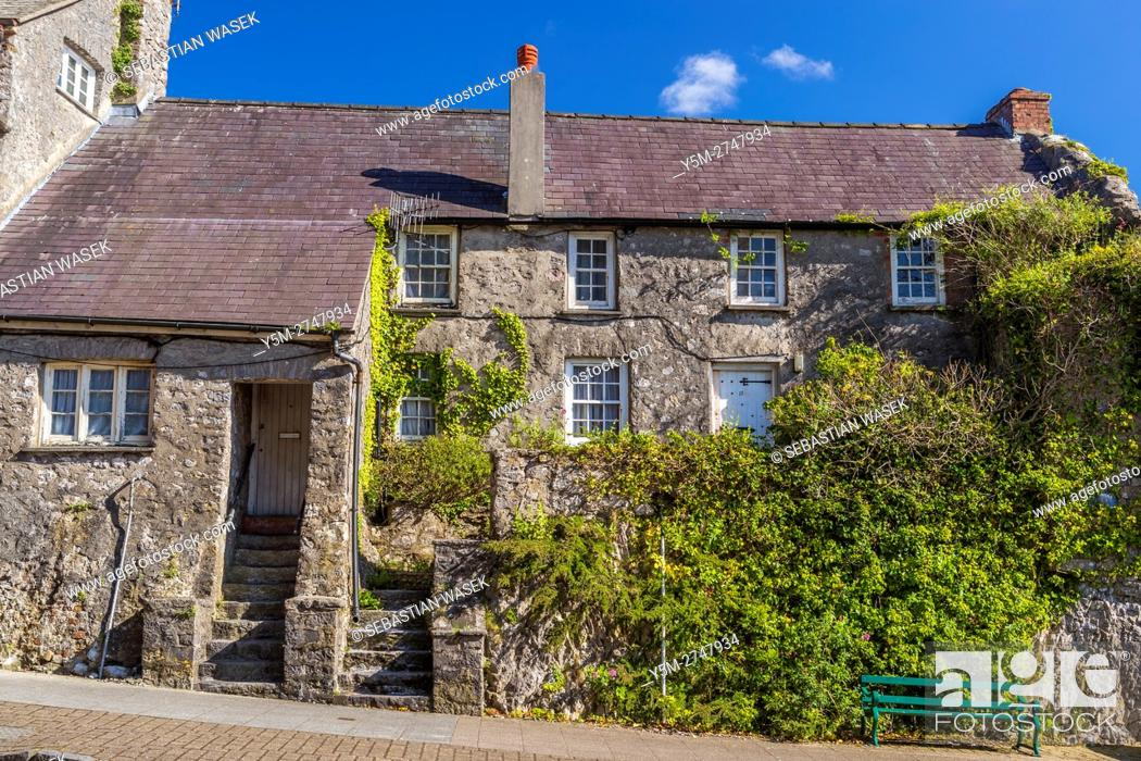 Stock Photo: Old houses along Westgate Hill at Pembroke, Pembrokeshire, Wales, United Kingdom, Europe.