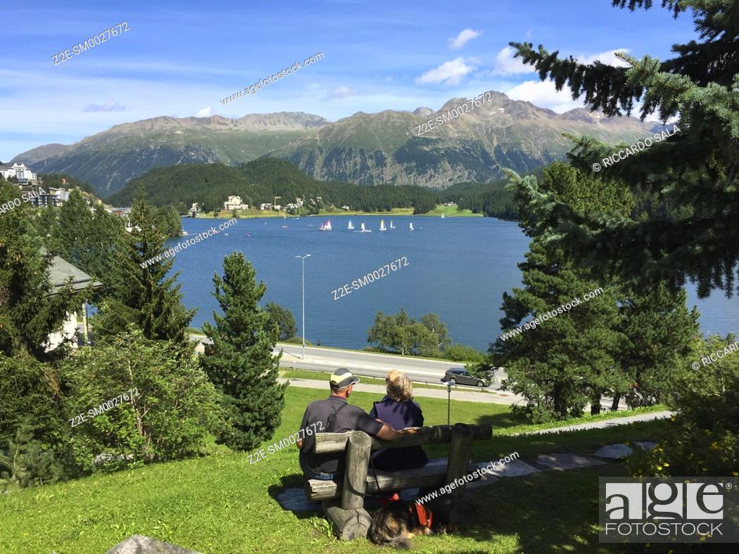 Stock Photo: Switzerland, Graubunden Canton, Saint Moritz, Lake.