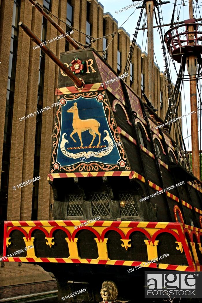 Stern of the Golden Hind, London, Stock Photo, Picture And