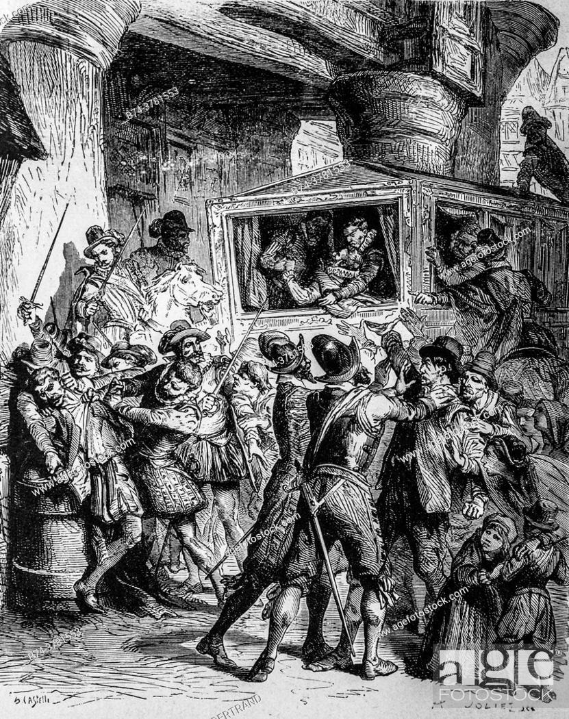 Stock Photo: , assassination of henri IV 1610, publisher lahur 1883.