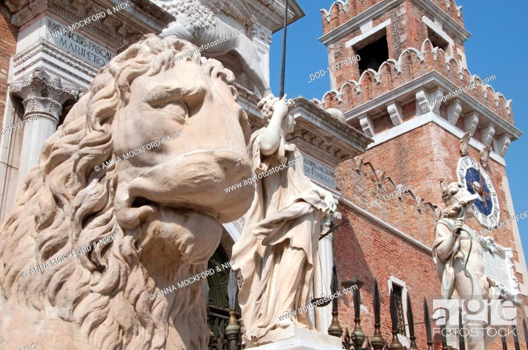 Stock Photo: Italy, Veneto, Venice, Arsenale, stone lion and statues with Arsenale entrance.
