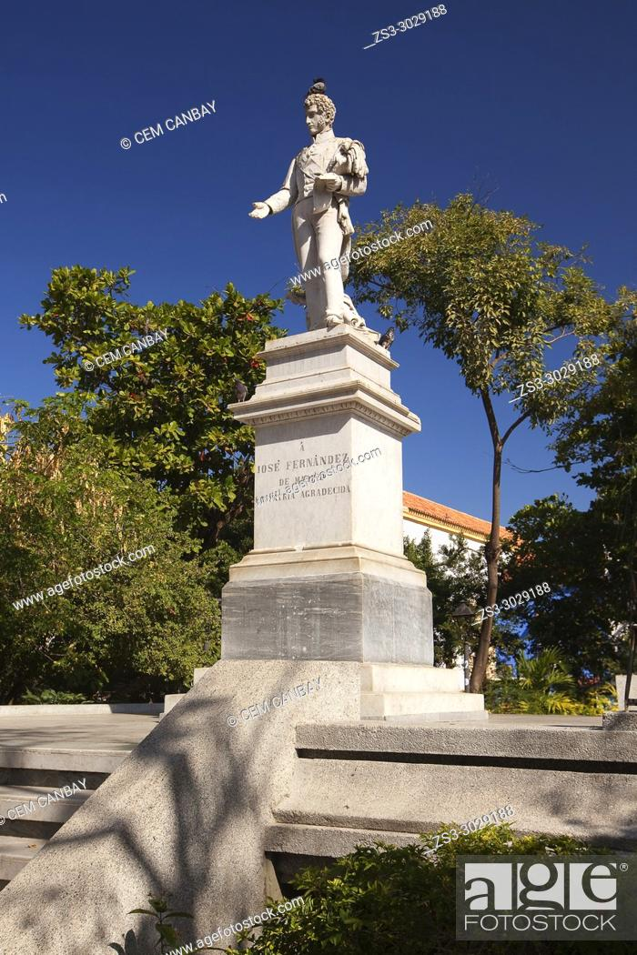 Stock Photo: Monument dedicated to Jose Fernandez De Madrid at the historic center, Cartagena de Indias, Bolivar, Colombia, South America.