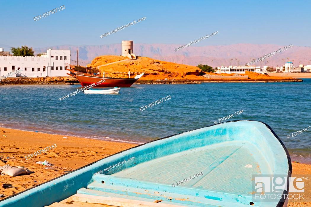 Stock Photo: fort battlesment sky and  star brick in oman muscat the old defensive  sea mountain.