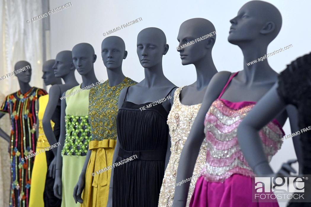 Stock Photo: A view of costumes by Annamode at 'Romaison 2020' exhibition featuring archives and creations from Rome's foremost costume design studios , Ara Pacis Museum.