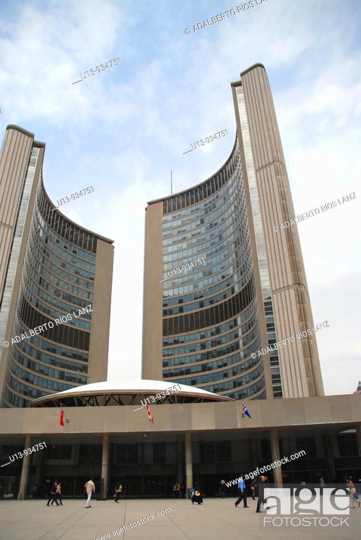 Stock Photo: Toronto City Hall building designed by Viljo Revel. Toronto, Ontario, Canada.