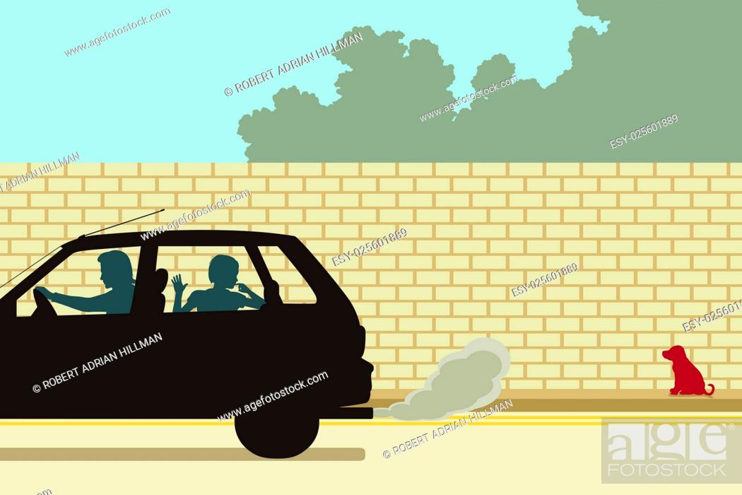 Stock Vector: Editable vector illustration of a puppy being abandoned by a family driving away.