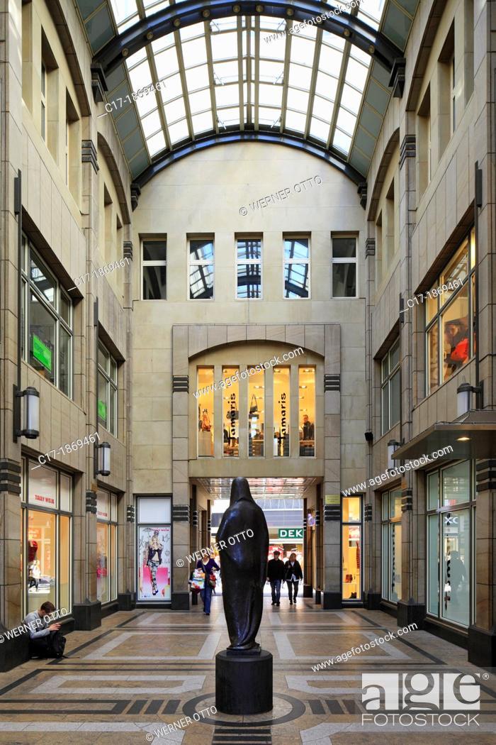 Stock Photo: Germany, Cologne, Rhine, Rhineland, North Rhine-Westphalia, NRW, Stollwerck shopping arcade, Hohe Strasse, Am Hof, sculpture Gaea by Gerhard Marcks.