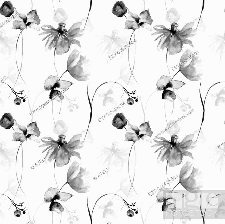 Imagen: Monochrome floral seamless pattern, watercolor illustration.