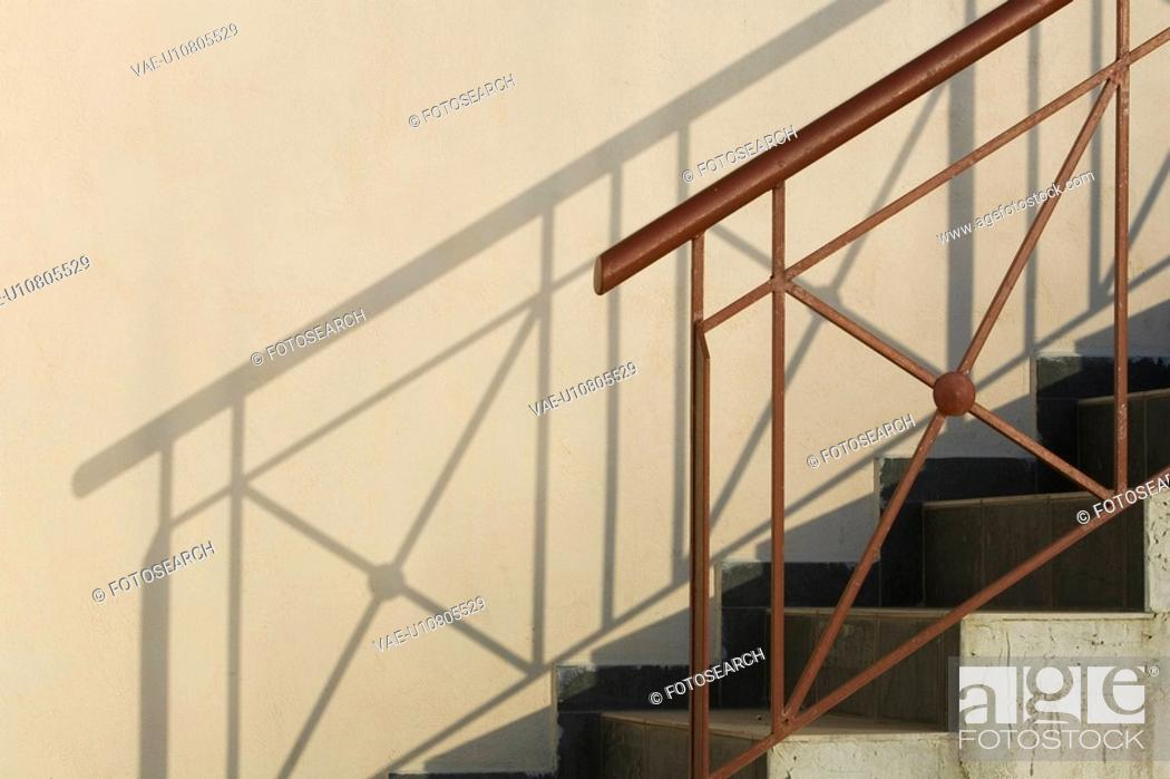 Stock Photo: Banister, Building, Day, Design, Exterior.