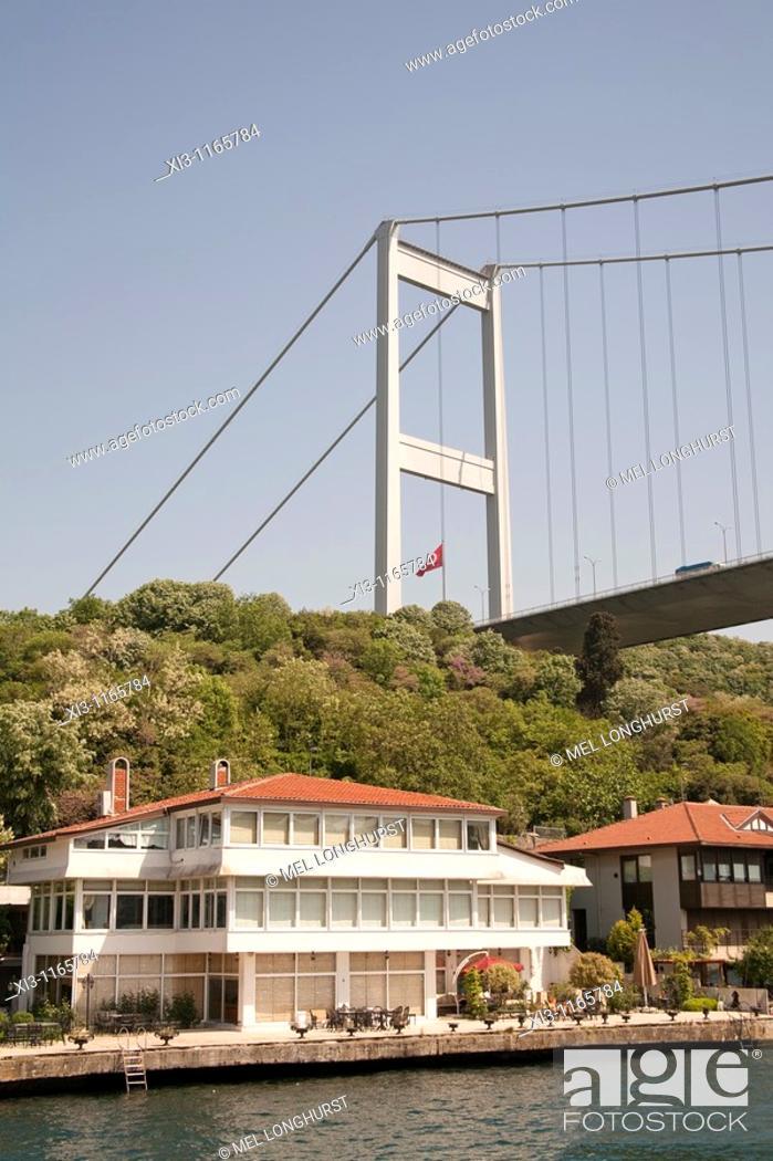 Stock Photo: Fatih Sultan Mehmet Bridge, and waterside homes, beside the Bosphorus, Istanbul, Turkey.