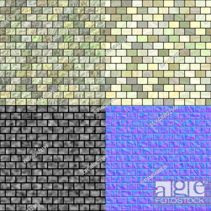 Glass tiles seamless generated texture (with diffuse, bump and