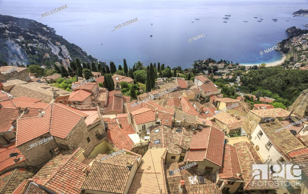 Stock Photo: France, Alpes Maritimes, Roquebrune Cap Martin, overhead view on houses roofs and Roquebrune Bay.