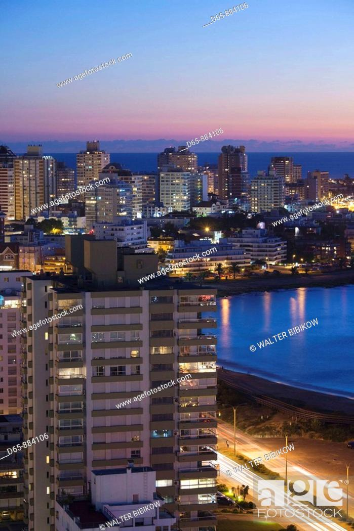 Stock Photo: Evening aerial view, Punta del Este, Uruguay.