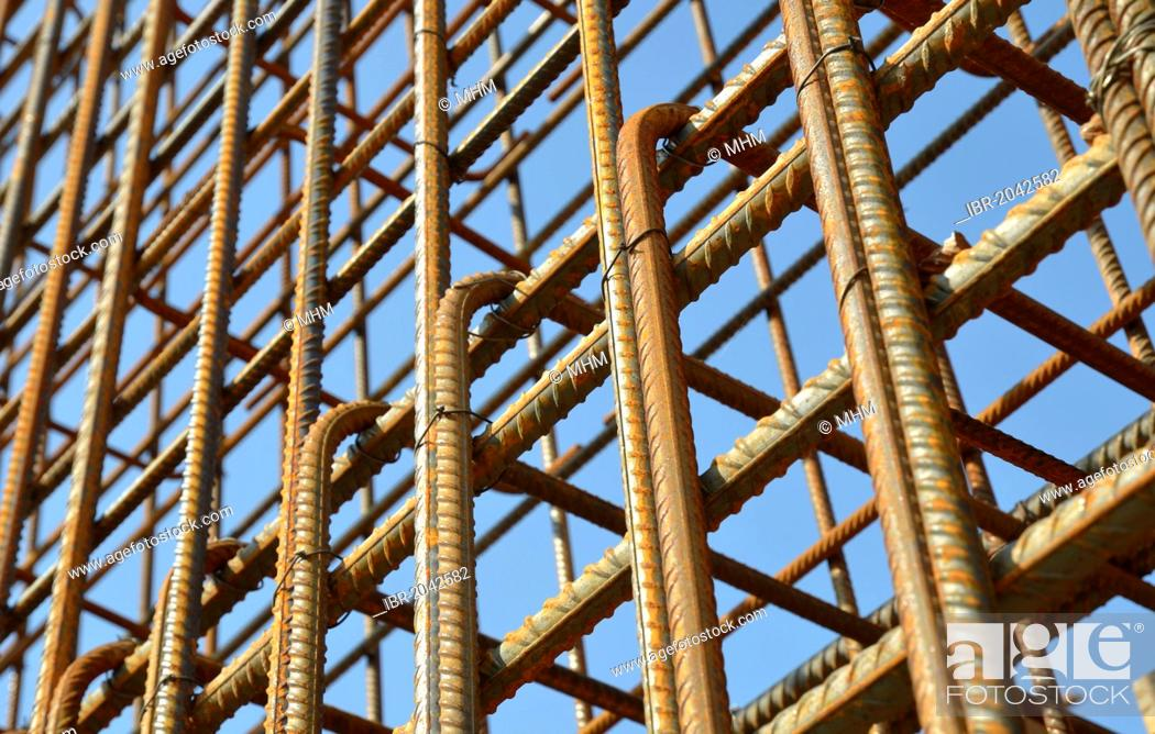 Stock Photo: Rebar, reinforcing steel, on a construction site.