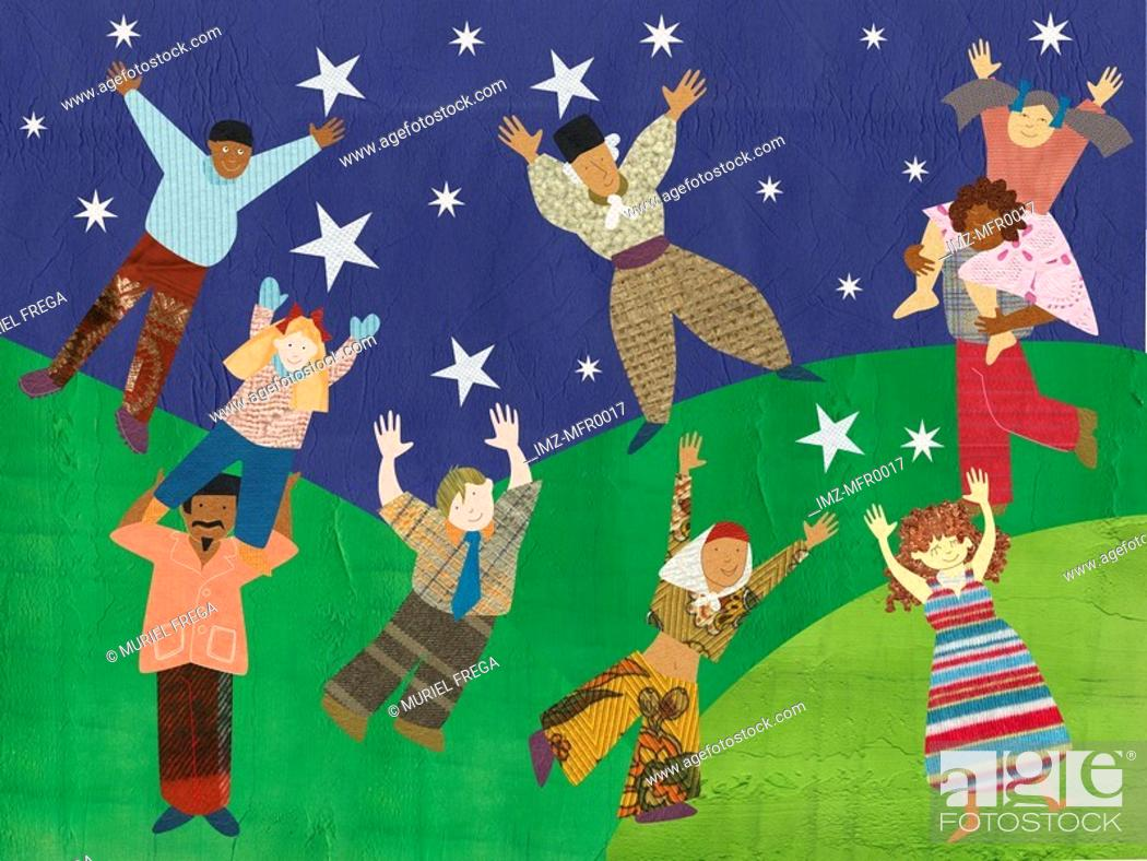 Stock Photo: Multicultural people reaching for the stars.