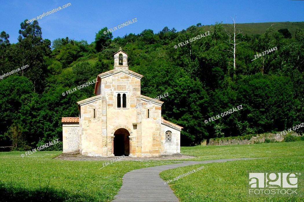 Stock Photo: Pre-Romanesuqe church of San Salvador de Valdedios, Villaviciosa, Way of St James, Asturias, Spain.