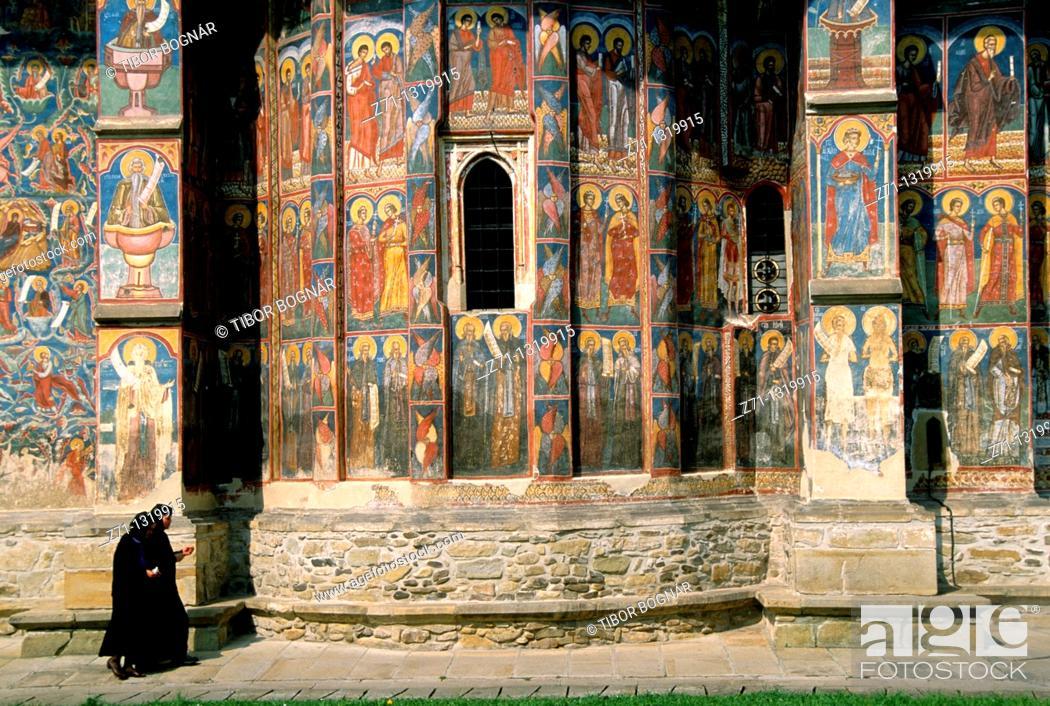 Stock Photo: Romania, Bucovina, Moldovita Monastery, fresco, nuns,.