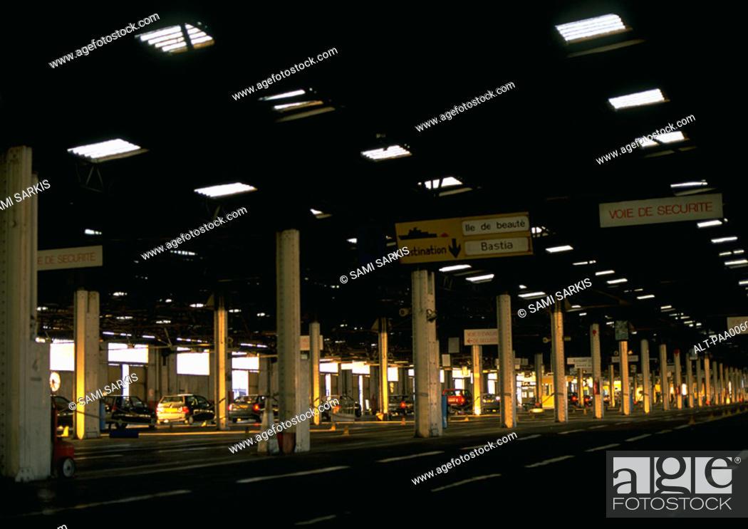 Stock Photo: Freeway tollbooths.