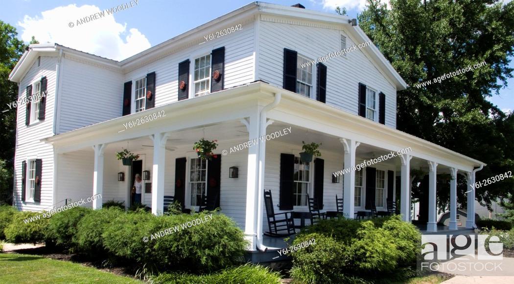 Stock Photo: Beam 1911 white family home Jim Beam Distillery Clermont Kentucky USA.