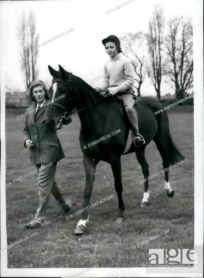 Stock Photo: Nov. 11, 1959 - Penny receives the Queen's Pony.: Today was a big day for ten-year-old Penny Stephenson, of St. Leonard's Hill.
