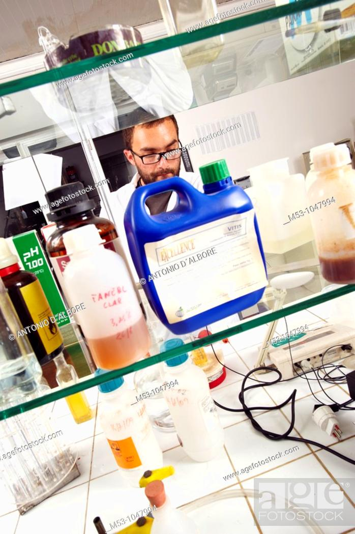 Stock Photo: chemist at work in a chemical lab.