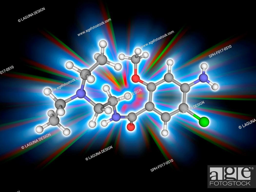 Metoclopramide  Molecular model of the drug metoclopramide (C14 H22