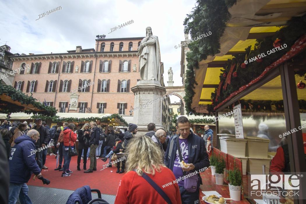 Stock Photo: Verona Veneto Italy on November 24, 2019: Christmas market at piazza dei Signori.