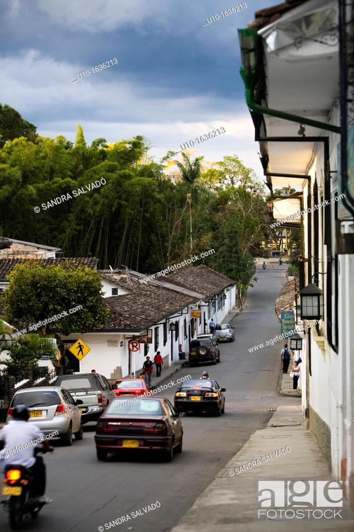 Stock Photo: Street view of the colonial town of Popayán, Colombia, South America.
