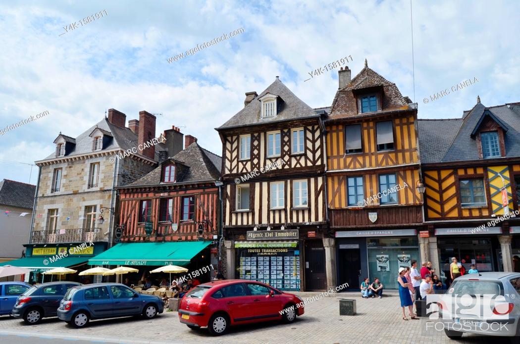 Stock Photo: Europe, France, Bretagne Brittany Region, Dol de Bretagne City, Typical medieval building.
