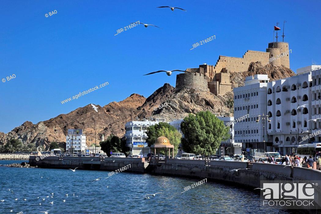 Stock Photo: Corniche of the Muttrah district, Muscat, Oman, Arabian Peninsula, Middle East, Asia.