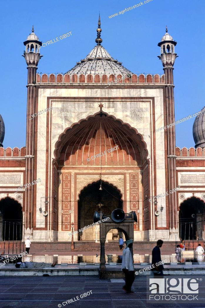 Stock Photo: Jama Masjid mosque, Great Friday Mosque, Old Delhi, India, Asia.