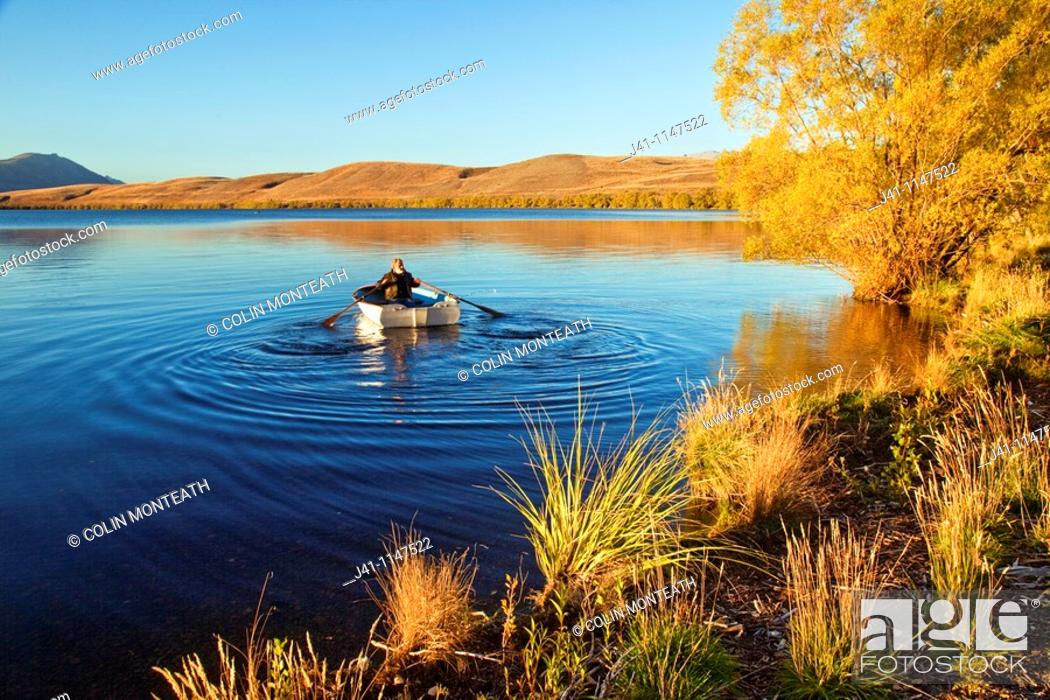 Stock Photo: Trout fisherman rows out into Lake Alexandrina Wildlife Refuge just after dawn, no engines allowed on lake, Mackenzie country, Canterbury, New Zealand.