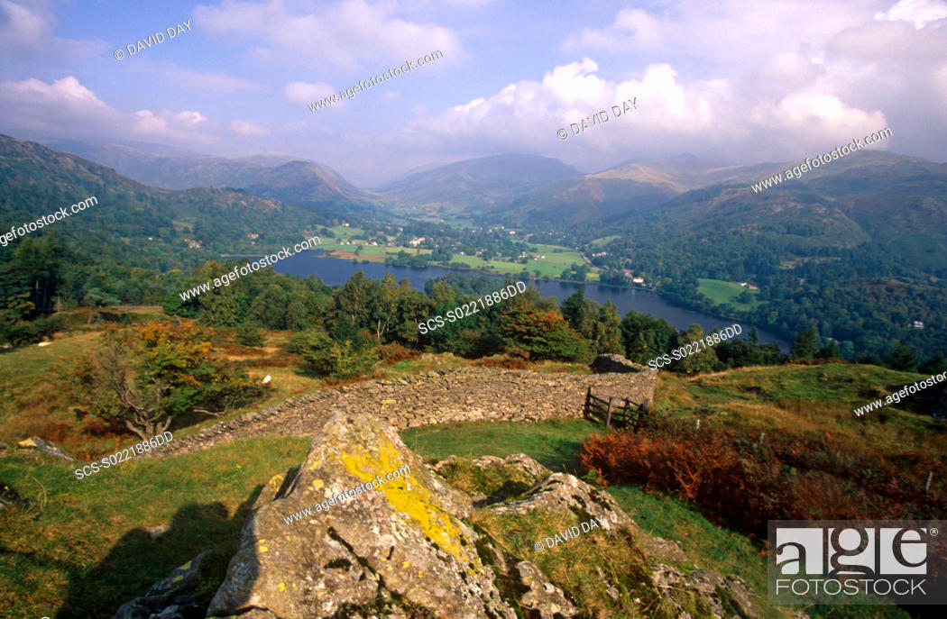 Stock Photo: View of Grasmere from high up Lake District, England 2001.